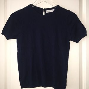 ZARA Knit   short sleeve knit shirt Navy